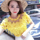 Spring Summer Floral Women Short Sleeve Hollow-out White Lace Top Bottom Shirt Yellow Black