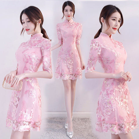Spring Summer Korean Girl Cheongsam Floral Dress Daily Improved Chinese Bottom Dress
