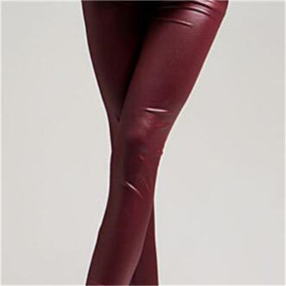 Spring Autumn Imitation Leather Leggings High Waist Elastic Pencil Pants Black Leggings