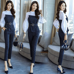 Spring Autumn Women Chic Suit Small Fragrant Office Two Piece Suit White Patch Stripe Top Pants Set