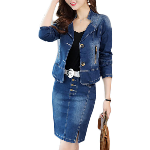 Spring Korean Set Long-Sleeved Jean Jacket Bags Hip Skirt Two-Piece Denim Suit Slim Casual