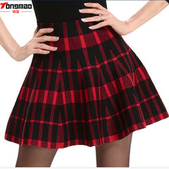 Spring Skirts Women Autumn High Waist Short Mini Pleated Wool Plaid Skirts