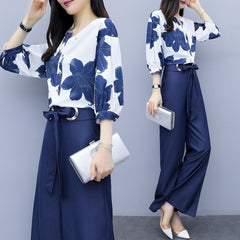 Spring Summer Chiffon Floral Print Two Piece Sets Women Blouses Wide Leg Pants Suits Office Outfits