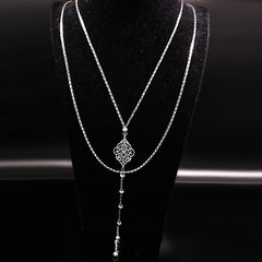 Stainless Steel Neckless Women Jewelry Flower Silver Color Geometry Long Neckless Jewlery