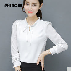 Stand Collar Chiffon Blouses Shirts Women Summer Hot Ruffles Long Sleeve Solid Pullovers Tops Tees