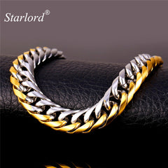 Starlord Two Tone Bracelet Stainless Steel/Gold Color Bracelet Rock Men Trendy Jewelry