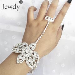 Statement Rhinestone Finger Ring Bracelets Wedding Crystal Bowknot Bangle Charm Jewelry