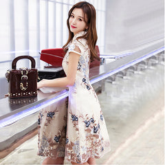 Summer New Short Improved Cheongsam Girl Short Sleeve Daily Slim Dress
