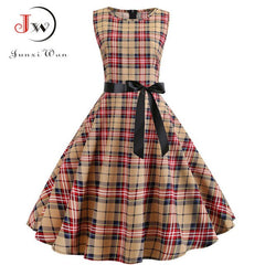 Summer Retro Vintage Plaid Dress Sleeveless Rockabilly Party Dresses Plus Size Casual Midi Tunic