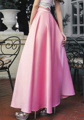 Summer Autumn Long Skirts Women Satin Red Floor-Length A-line Vintage Party Maxi Skirts