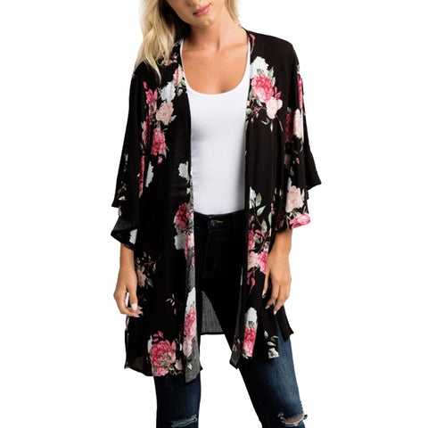 Summer Chiffon Shawl Floral Kimono Cardigan Top Large Size Loose Beachwear Cover Up Blouse