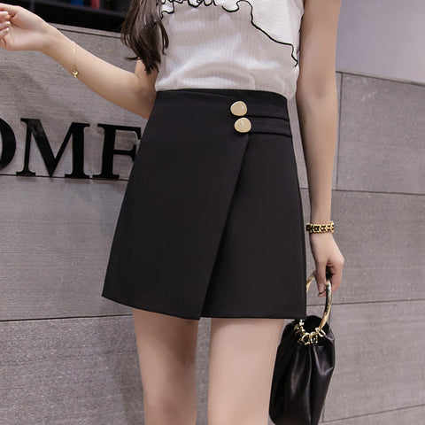 Summer Black A-line Short Skirt Autumn Metal Button High Waist Mini Skirt Orange Skirts