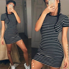 Summer Casual Striped O-neck Short-sleeved Dress Black White Striped Casual Sheath Slim Dresses