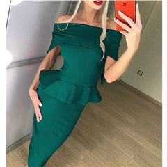 Summer Off Shoulder Short Sleeve Bodycon Party Dress Plus Size Dress