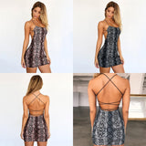 Summer Dress Cross Bandage Backless Snake Print Strap Sleeveless Halter Party Club Bodycon Dresses