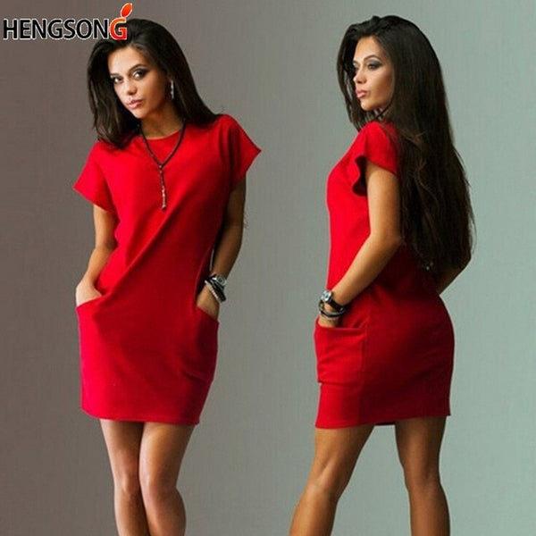 Summer Short Sleeve O Neck Mini Dress Bodycon Pocket Loose Casual Office Work Dress