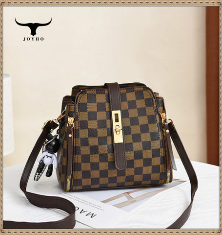 Summer Handbag Korean Practical Wild Retro Lattice Women Shoulder Messenger Bag