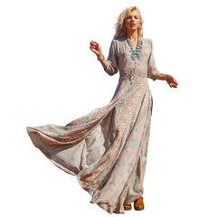 Summer Long Floral Print Boho Split Beach Tunic Maxi Women Evening Party Dress