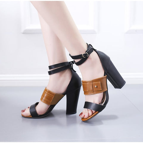 Summer PU Women Ankle Strap Mixed Color High Heels Shoes Open Toe Cover Heels Sandals