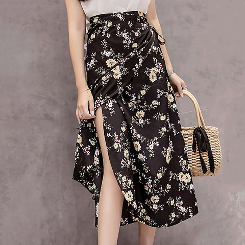 Summer Flower Chiffon Skirt Kawaii Korean Casual Harajuku Mid-Calf Bow High Waist Vintage Skirts