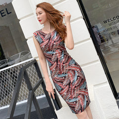 Summer Party Bodycon Sheath Dresses O Neck Sleeveless Office Print Vintage High-end Bandage Dress