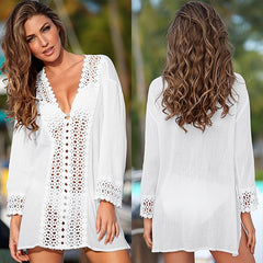Summer Women Cover Ups Lace Crochet Bikini White Blouse Hollow Out V-Neck Beach Cover-Up Swim Wear