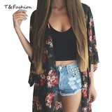 Summer Women Vintage Flower Print Black Chiffon Blouse Shirt Loose Kimono Cardigan