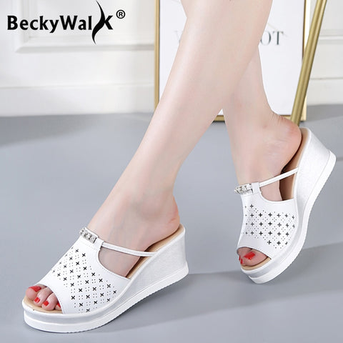 Summer Wedge Slippers Platform High Heels Women Slipper Beach Shoes Leather Flip Flop Sandals
