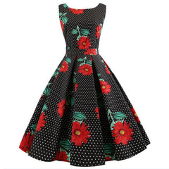 Summer Dress Vintage Floral Tunic Sundress V Neck Work Office Party Dresses Plus Size Midi Pin Up