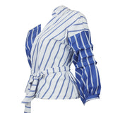 Summer Women Striped Shirts V-neck Half Sleeve Shirt One Shoulder Top