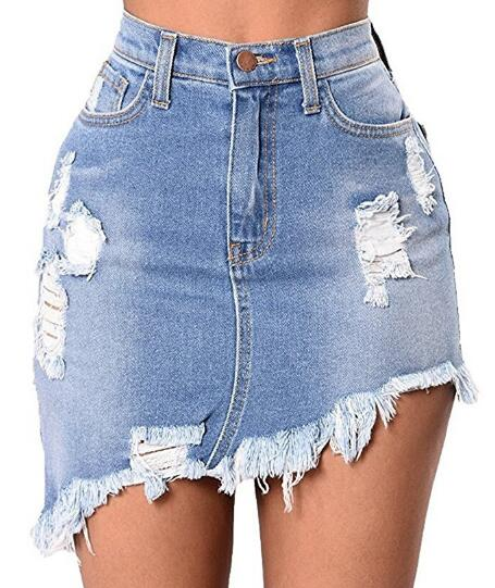 Summer Women Midi Skirt High Waist Mini Denim Oblique Slim Jeans Bandage Skirt American Apparel
