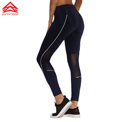 Syprem Dri-FIT Sports Pants Mesh Yoga Leggings Fitness Bottom Quick-drying Ventilation Leggings