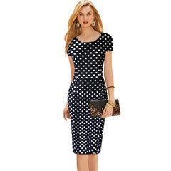 Vintage Polka Dot Slim Frill Large Size Tunic Dress Office Work Business Bodycon Sheath Dress
