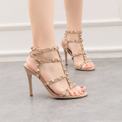 Buckle Rivet Design Women Stiletto Sandals PU Metal Gladiator Sandals Summer High Heels Shoes