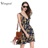 Summer Beach Style Tank Dress Women Countryside European Printed High Waist Mini Dress V-Neck