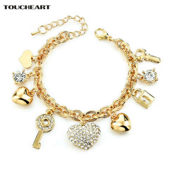 TOUCHEART Imitation Heart Key Charm Bracelets Bangles Women Gold Crystal Wedding Bracelet