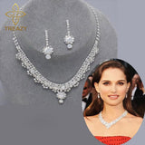 Diamante Crystal Tennis Statement Necklace Earrings Set Wedding Bridal Bridesmaid Jewelry Sets