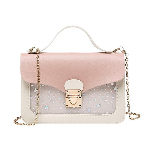 Women Soft Leather Small Square Bags Handbag Purse Chain Pink Sequined Crossbody Bag