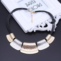 Black Rope Chain Big Statement Alloy Geometric Patterns Necklaces Pendants Jewelry Accessories