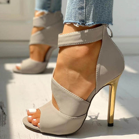 Thin Heels Women Summer High Heels Zipper Peep Toe Sandals Office Hollow Out Shoes