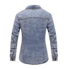 Three Crystal Denim Shirt Women Long Sleeve Turn-Down Collar Blouse Thin Jeans Shirt