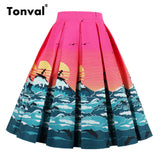 Pleated Women Summer Flamingo Swing Skirt Scenic Mountain Gorgeous Print Vintage Floral Midi Skirt