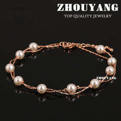 Imitation Pearl Rose Gold Color Anklets Jewelry Austrian Crystals