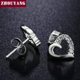 Hollow Heart Half Of Crystal Silver Color Stud Earrings Jewelry Genuine Austrian Crystal