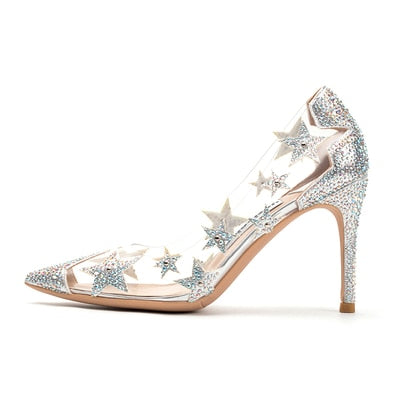 Transparent Crystal High Heels Stiletto Pointed Star Sequin Bridesmaid Wedding Shoes