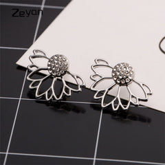 Trendy Jewelry Gold Silver Plated Hollow Out Lotus Flower Crystal Stud Earrings Piercing Earrings