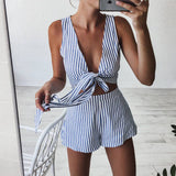 Blue Striped Playsuits Beach Casual Short Pants Jumpsuit Rompers Sleeveless V Neck Overalls Bodysuit