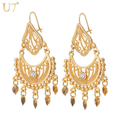 Ethnic Earrings Indian Jewelry Classic Party Silver Gold Rhinestone Tassels Earrings