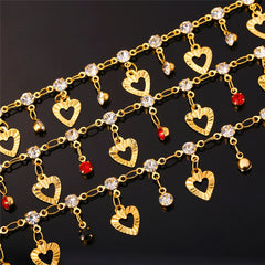 Trendy Heart Anklet Summer Jewelry Gift Red Crystal Gold Ankle Foot Chain Women Bracelet