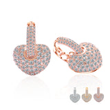 Rose Gold Cubic Zirconia Micro Paved Hoop Earrings Clear Crystal Heart Lover Women Party Jewelry
